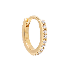 14K Gold / Single / 10 MM Diamond Mini Cartilage Huggie Earring 14K - Adina's Jewels