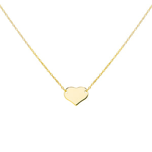 14K Gold Engraved Mini Heart Necklace 14K - Adina's Jewels