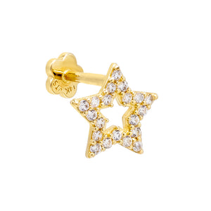 14K Gold / Single Open Star Threaded Stud Earring 14K - Adina's Jewels