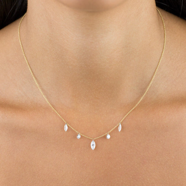 Floating Diamond Marquee & Round Necklace 18K - Adina's Jewels