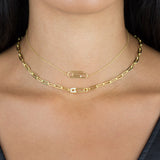Pavé Safety Pin Link Necklace - Adina's Jewels