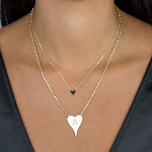 Mini Pavé Onyx Heart Necklace - Adina's Jewels