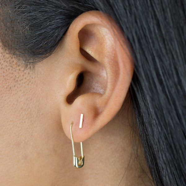 Solid Safety Pin Earring 14K - Adina's Jewels
