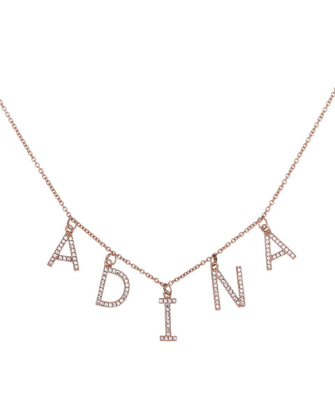 1-4 Letters / 14K Gold Block Name Necklace 14K - Adina's Jewels