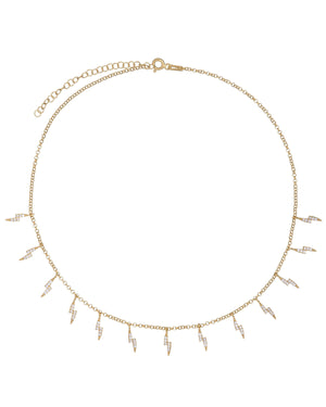 CZ Lightning Bolt Choker Gold - Adina's Jewels