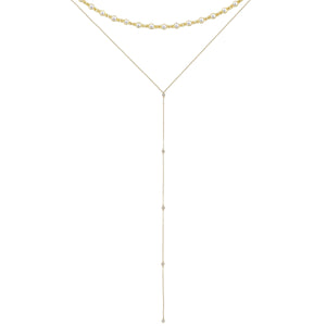 CZ Bezel Necklace Combo Set Gold - Adina's Jewels