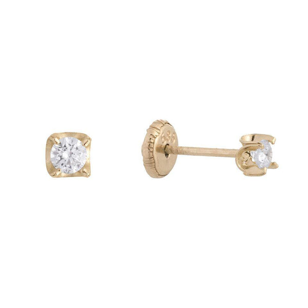 14K Gold CZ Stud Earring 14K - Adina's Jewels