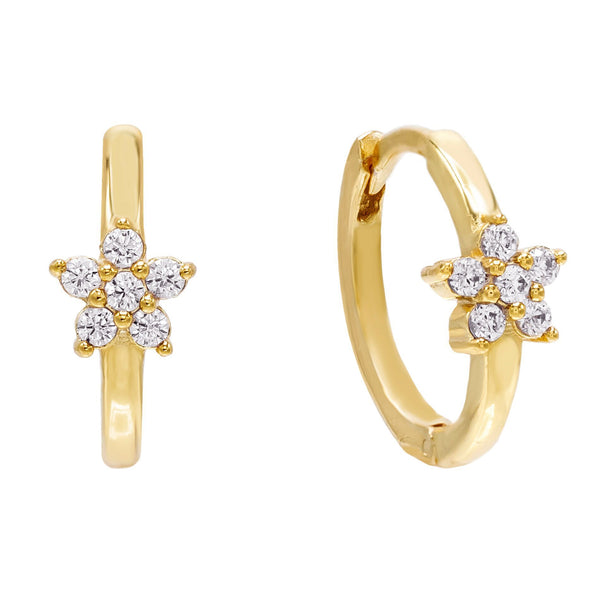 Gold Crystal Flower Huggie Earring - Adina's Jewels