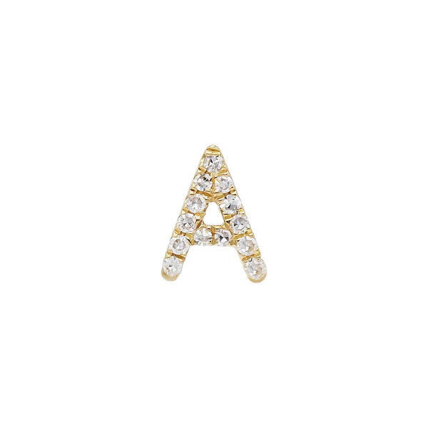 14K Gold / Single Diamond Initial Stud Earring 14K - Adina's Jewels