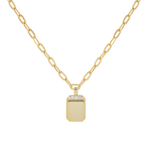 Engraved CZ Mini Dog Tag Link Necklace Gold - Adina's Jewels