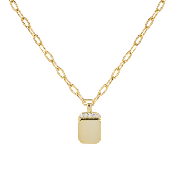 Gold Engraved CZ Mini Dog Tag Link Necklace - Adina's Jewels
