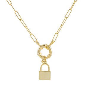 Lock X Toggle Link Necklace Gold - Adina's Jewels