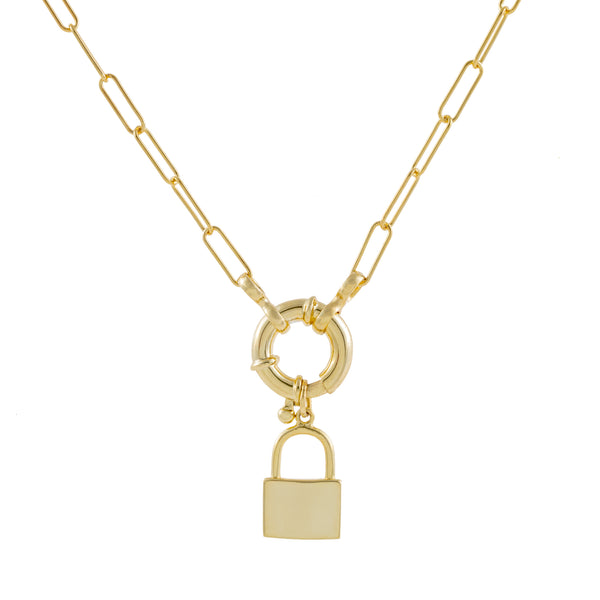 Gold Lock X Toggle Link Necklace - Adina's Jewels