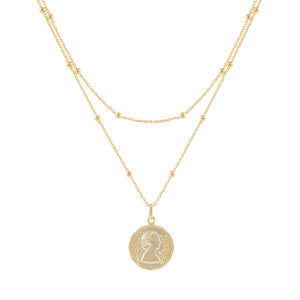 Layered Ball Chain Coin Necklace Gold - Adina's Jewels