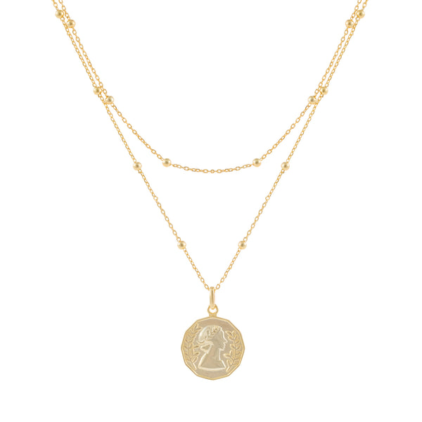 Gold Layered Ball Chain Coin Necklace - Adina's Jewels
