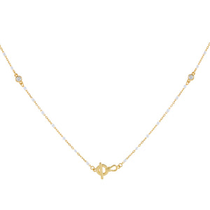 White CZ X Enamel Toggle Necklace - Adina's Jewels