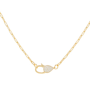 Pavé Clasp Link Necklace Gold - Adina's Jewels