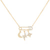Gold Safety Pin X Charms Necklace - Adina's Jewels