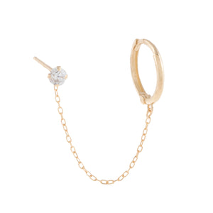 14K Gold / Single Solitaire Stud X Huggie Chain Earring 14K - Adina's Jewels
