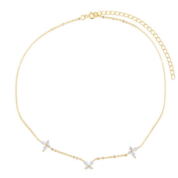 Crystal Triple Butterfly Choker - Adina's Jewels