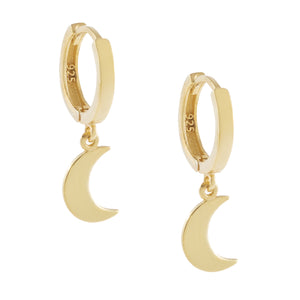 Gold Solid Crescent Huggie Earring - Adina's Jewels