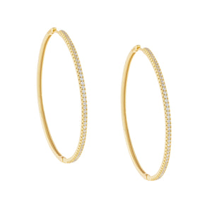 Large CZ Thin Hoop Earring Gold - Adina's Jewels