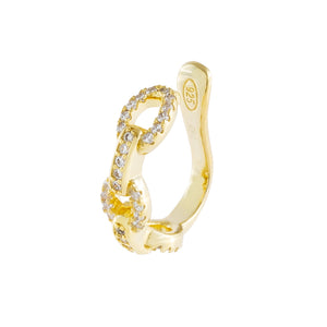 Pavé Cuban Chain Ear Cuff Gold / Single - Adina's Jewels