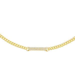 Gold Pavé Bar Cuban Chain Choker - Adina's Jewels