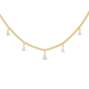 Gold CZ Teardrop Cuban Chain Necklace - Adina's Jewels