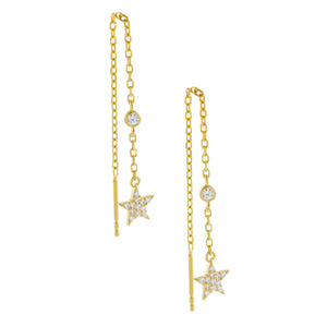 CZ Star Threader Drop Earring Gold - Adina's Jewels