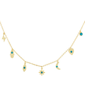 CZ Turquoise Charms Necklace Turquoise - Adina's Jewels