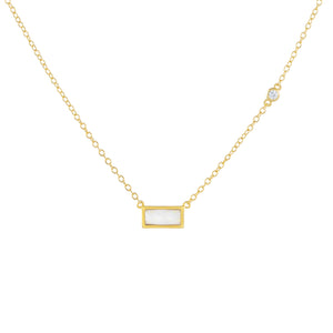 Gold Opal Bar X Bezel Necklace - Adina's Jewels