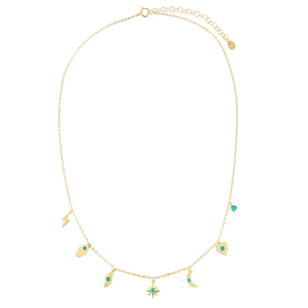 CZ Turquoise Charms Necklace - Adina's Jewels