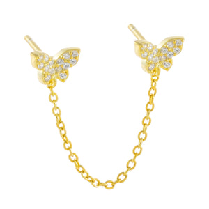 Gold / Single Pavé Double Butterfly Chain Stud Earring - Adina's Jewels
