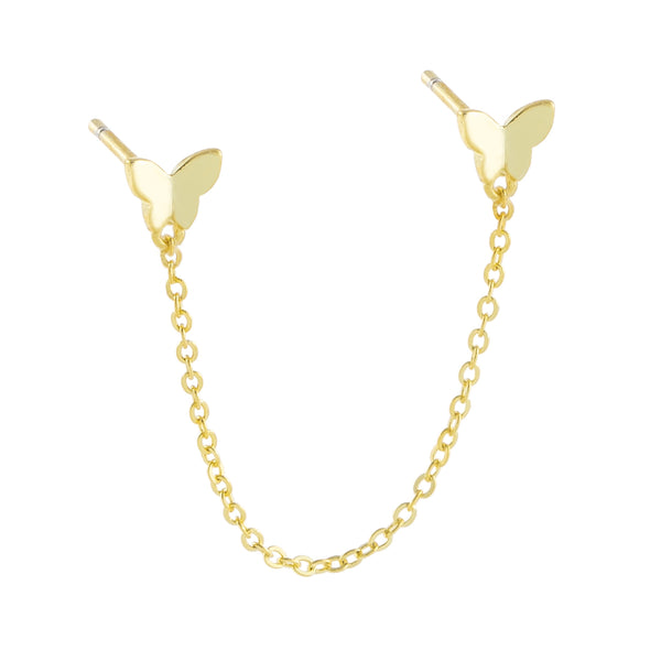 Solid Double Butterfly Chain Stud Earring Gold / Single - Adina's Jewels