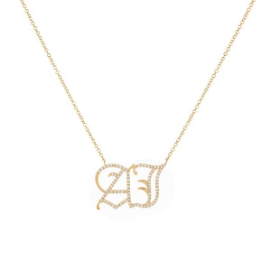 14K Gold Diamond Large Gothic Double Initial Necklace 14K - Adina's Jewels