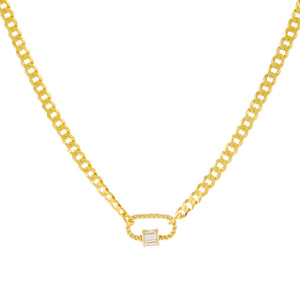 Gold Baguette Mini Rope Toggle Cuban Chain Necklace - Adina's Jewels