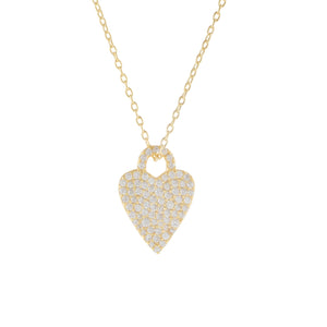 Gold Pavé Heart Charm Necklace - Adina's Jewels