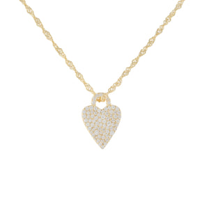Gold Pavé Heart Charm Singapore Necklace - Adina's Jewels
