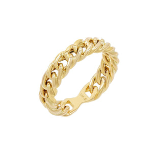 14K Gold / 9 Thick Chain Link Ring 14K - Adina's Jewels