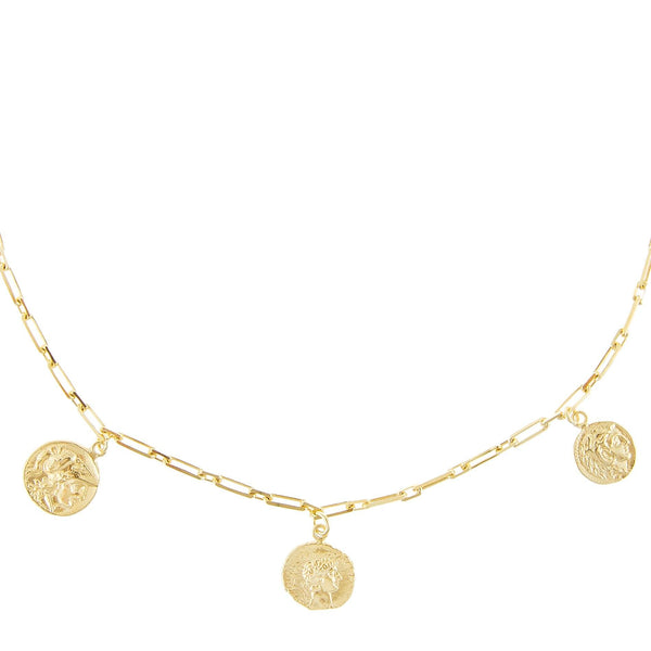 Gold 5 Coin Dangling Chain Necklace - Adina's Jewels