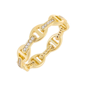 CZ Chain Ring Gold / 8 - Adina's Jewels