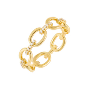 Pavé Chain Ring Gold / 8 - Adina's Jewels
