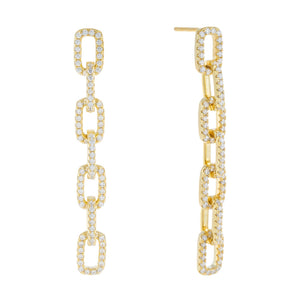 Pavé Box Link Drop Stud Earring Gold - Adina's Jewels