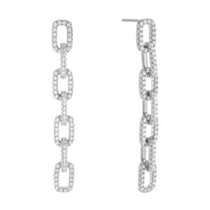 Pavé Box Link Drop Stud Earring - Adina's Jewels