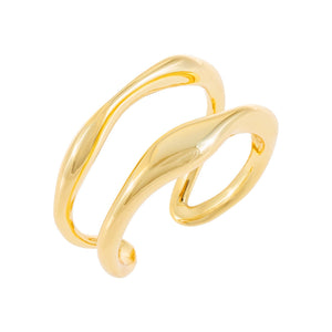 Gold Solid Double Row Ring - Adina's Jewels
