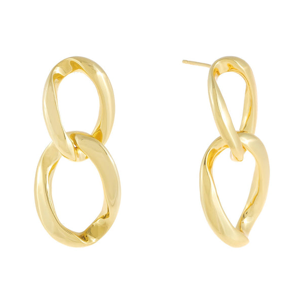 Gold Chunky Solid Link Stud Earring - Adina's Jewels