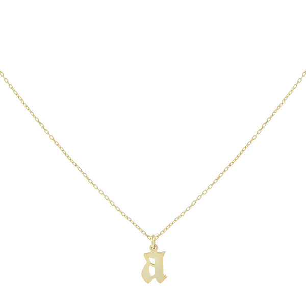 14K Gold Gothic Initial Necklace 14K - Adina's Jewels