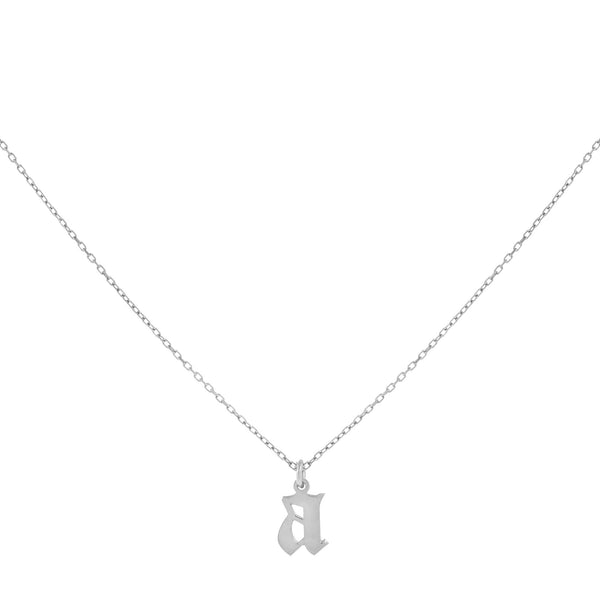 14K White Gold Gothic Initial Necklace 14K - Adina's Jewels