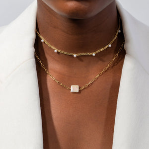 Pearl Embedded Cuban Chain Choker - Adina's Jewels